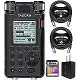 TASCAM DR-100MKIII 192kHz/24 位立体声便携式录音机套装,含 16GB SDHC 存储卡,Bl…