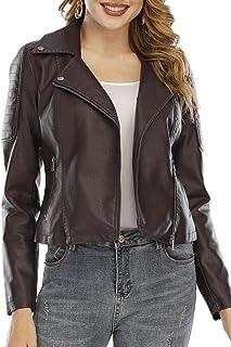Fahsyee 女式仿皮夹克,拉链机车短裤 PU 机车外套修身外套