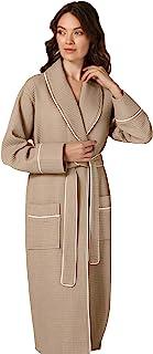 女式奢华华夫格披肩领长袍带滚边 – 轻盈、长、超软的 Spa 睡衣浴袍, 灰褐色, Small