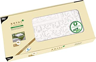 Papstar 12 小桌垫,仿织物,PV 组织 ROYAL Collection Plus,100 厘米 × 100 厘米,白色 Damascato,#85787