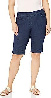 SLIM-SATION 女士加大码宽带套穿纯色散步短裤