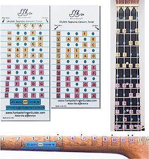 尤克里里奇幻手指指南 - 音乐配件、指板和指板贴纸用于学习笔记、学习玩尤克里里、Frets 1-24