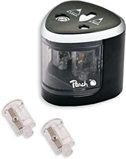 Peach PO102 电动通用卷笔刀 包括备件 适用于所有铅笔 彩笔 眼线笔和绘图蜡笔 双卷笔刀 适用于6 – 8 毫米和 9 – 12 毫米的笔