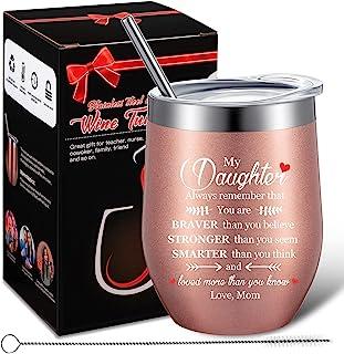 妈妈的女儿礼物,Always Remember You are Braver Than You Believe,有意义的生日,圣诞节,毕业礼品创意,适合女儿,340.19 毫升酒杯,带礼品盒(玫瑰金)