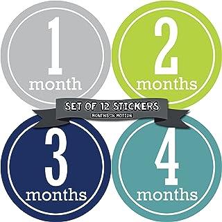 月球运动每月婴儿里程碑贴纸 适合男孩 - 连体衣 月贴纸 - 婴儿照片道具 - 淋浴礼品 - 新生儿纪念品(款式 162)