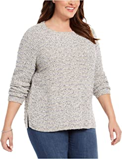 Style & Company 女式灰色拼色长袖圆领毛衣尺码 1X