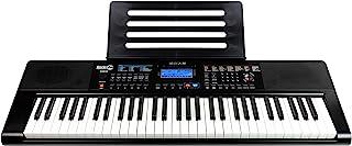 RockJam RJ461AX 61 键 Alexa 便携式数字钢琴键盘,带乐谱架、电源、简单钢琴应用程序和Note 键贴纸,带 Alexa 集成