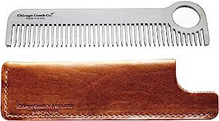 芝加哥梳子型号 1 不锈钢 + Horween Tan 皮套,美国制造,超光滑,耐用,防静电,5.5 英寸。 (14 cm) 长,中号罐,终极日常使用和口袋梳,礼品套装