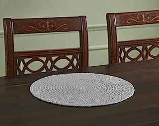 Better Trends 纯棉纯色系列优雅柔软耐热餐桌,* 纯棉鲜艳色彩,15 英寸(约 38.1 厘米)圆形 4 件套,灰色