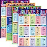 4 件教育海报其他方式说同义词海报常见困惑的单词学习图表适用于小学中学高中课堂游乐室装饰,17 x 22 英寸