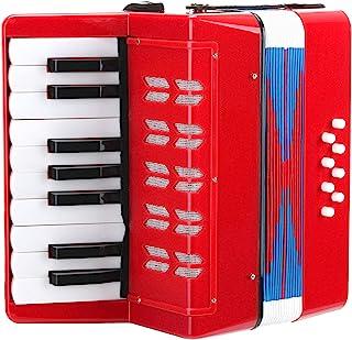 Classic Cantabile Bambino Rosseo 儿童手风琴,适合3 岁以上儿童,17 个音符按钮,8 个低音,可调节肩带