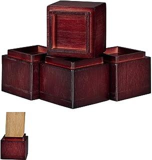 Relaxdays 家具增高器 4 件套,增加 8.5 厘米,适用于餐桌、椅子和其他家具,高 x 宽 x 深 10 x 11.5 厘米,颜色 红棕色 4 Stück 10028827_93
