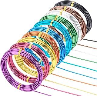 PandaHall 10 卷 50 米圆形铝丝,2.5 毫米/10 规格可弯曲金属工艺线电枢线 10 种颜色适合娃娃骨架花环 DIY 珠宝和工艺制作,5 米卷
