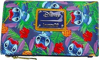 Loungefly x Disney Lilo & Stitch *蓝热带叶子印花翻盖钱包