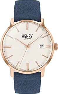 Henry London 中性款成人模拟经典石英手表皮革表带 HL40-S-0358