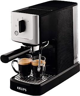 Krups 克鲁伯 CALVI 蒸汽&泵 意式咖啡机 XP3440 XP344010,不锈钢材质,1L,原汁原味的意式浓缩(Espresso) 配备有至为集约化的意式咖啡过滤器,黑色/银色