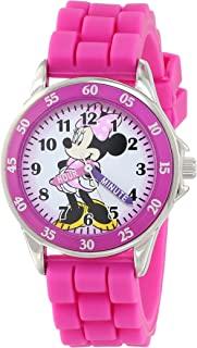 Disney 女孩石英金属和橡胶手表,颜色:粉色(型号:MN1157)