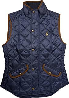 Polo Ralph Lauren 保罗拉尔夫劳伦女式人造皮革饰边绗缝背心,*蓝
