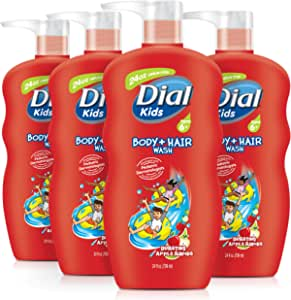 Dial Kids Body + Hair Wash, Bursting Apple Rapids, 24 Ounce (Pack of 4)