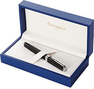 Waterman 威迪文 Exception 钢笔, 纤细黑色带镀银笔夹,细笔尖带蓝色墨囊,礼盒