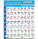 吉他和弦海报(60.96 厘米 x 76.20 厘米),初学者教育参考指南,56 种流行进步彩色编码和弦,美国制造
