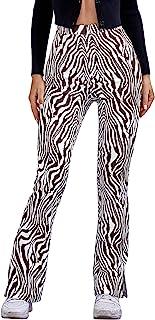 WDIRARA 女式斑马印花侧开叉松紧腰弹力休闲长裤