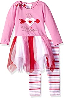 Bonnie Baby 女童心形贴花裙打底裤套装