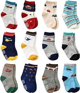 12 双装男幼童夹袜,婴儿袜,男孩家居袜防滑
