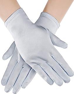 Sumind 短缎面手套,手腕长度手套,女式礼服手套,歌剧婚礼宴会礼服手套,适合派对舞蹈