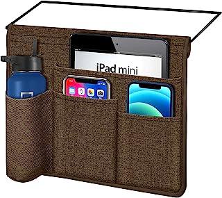 Joywell 床架袋,床头收纳收纳架,节省空间 带5个口袋,可装平板电脑、瓶子、杂志、手机遥控器,缎面/巧克力色金属丝嵌件
