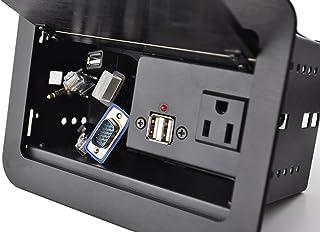 Yolkvisual 会议桌连接盒 1 x AC Pwr (US) + 2 个 US B 充电器 + 1USB(M/M) + 1 个 VGA + 1 个 HDMI + 2 个 RJ45(CAT6) + 1 个 Audio3.5 毫米,带 1.8...