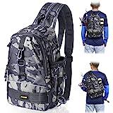PLUSINNO 渔具背包储物袋,户外肩背包,钓鱼装备袋,防水钓鱼背包,带杆架