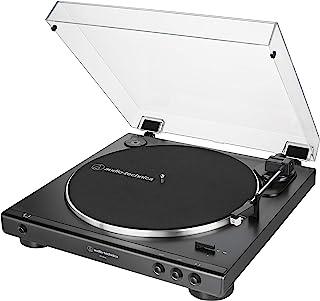 Audio-Technica 铁三角 AT-LP60X-BK 全自动皮带驱动立体声转盘,黑色,高保真,2速,防尘罩,抗共振,压铸铝盘