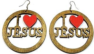 Teri's Boutique I Love Jesus 木雕刻悬挂大圆圆鱼钩耳坠