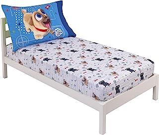 Disney Puppy Dog Pals Puppy Pals 趣味白色、蓝色和* 2 件套幼儿床单套装 - 床笠和双面枕套,蓝色,*,灰色,白色