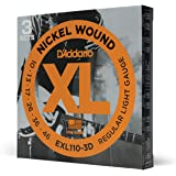 D'Addario EXL110-3D 镍缠绕电吉他弦,常规灯,10-46,3 套