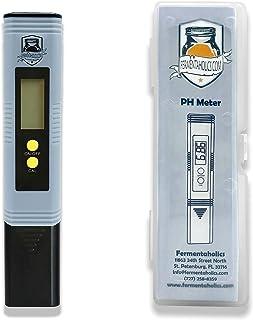 Fermentaholics 数字 pH 计,pH 计 0.00-14.00 pH 范围测试,适用于冲泡红茶、葡萄酒、啤酒、草地、发酵 pH 测试仪,带 ATC
