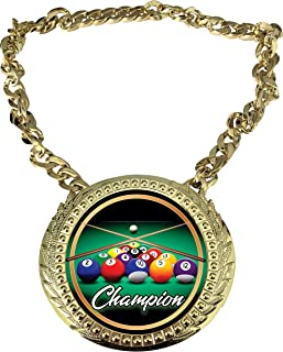 Express Medals 台球冠军链*杯中心牌匾牌,尺寸为 15.24 x 13.32 厘米,包括一条 86.26 厘米链子和黑色天鹅绒礼品袋。