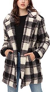 女式人造毛皮格子外套 – 格子系扣夏尔巴羊毛长夹克