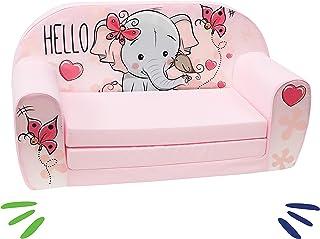 DELSIT 儿童沙发可折叠儿童沙发婴儿女孩大象粉红色