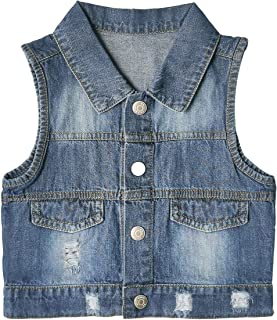 ZL Magic 男童休闲破洞牛仔时尚无袖夹克背心中性款儿童棉质外套 3-36 个月