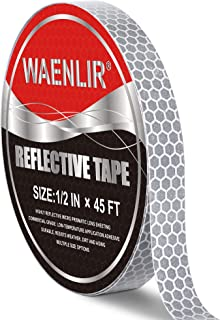 WAENLIR 白色银色弹性反光带,DOT-C2 *显眼胶带,拖车、布、自行车防水反光带