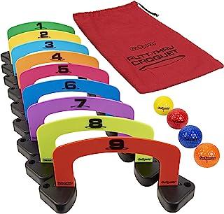 GoSports Putt-Thru Croquet 推球游戏 - 包括 9 个门、4 个高尔夫球和手提袋 - 在家里、办公室或*玩耍