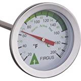 Firgus 堆肥土壤温度计,适用于后院堆肥不锈钢,直径为 5.08 厘米,华氏温度计和 50.8 厘米探针