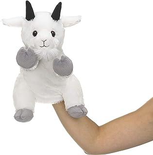 Eco Pals 野生动物艺术家山羊木偶,填充动物毛绒玩具木偶 11 英寸,环保,刺绣*和鼻子,由 * 消费后和再生材料制成
