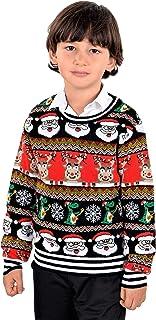 SoCal Look Boys 丑陋圣诞毛衣圣诞老人驯鹿套头黑色