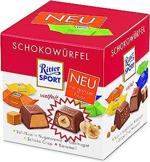 RITTER SPORT 巧克力块 多口味(4 x 176g),4种巧克力口味,花生糖奶油全果仁,巧克力脆片,焦糖花生糖,巧克力盒