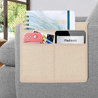 Joywell 沙发扶手收纳架,遥控支架,适用于躺椅,臂椅收纳架,带 3 个口袋,用于存放杂志、平板电脑、手机、iPad、香槟色
