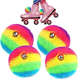 Waydress 4 件溜冰鞋绒球毛绒系带滚球带铃铛 DIY 适用于四轮滑冰啦队长女士女孩配饰