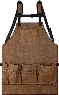 Sarhlio 工具围裙重型 16 盎司蜡制帆布工作围裙,带 11 个口袋宽肩带,可调节 M 至 XXL 木工围裙,适用于商店园艺手工画烹饪烧烤(WTA01A)